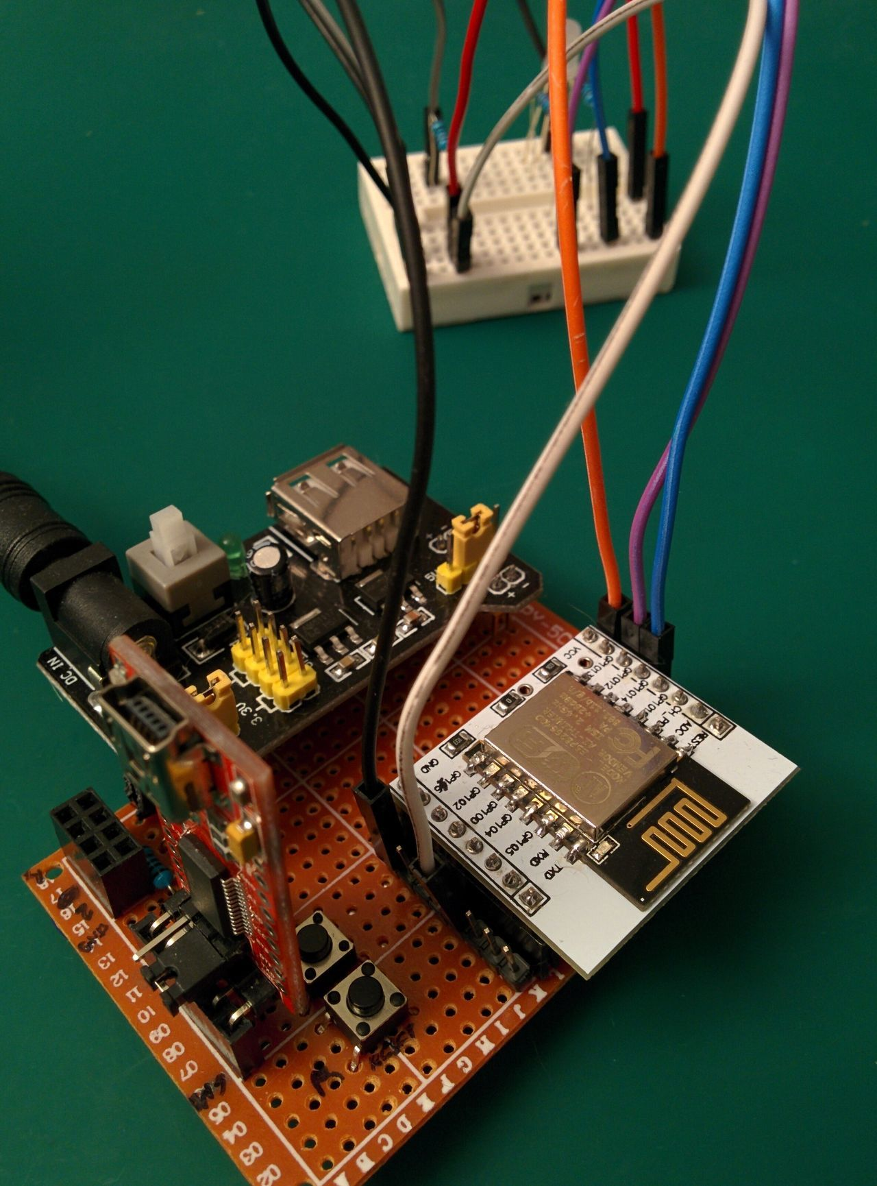 Perfboard with components