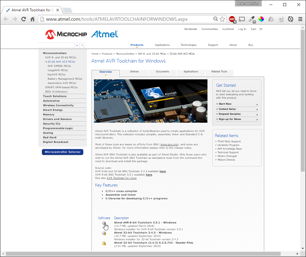 Atmel website
