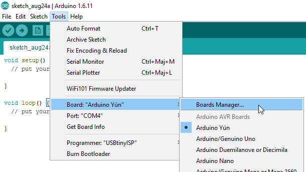 Arduino IDE - Tools - Boards Manager